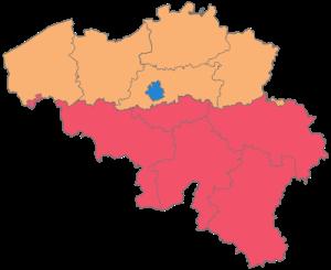 Provincias da Belgica Laranja - Regiao Flamenca Rosa - Regiao da Valonia Azul - Bruxelas